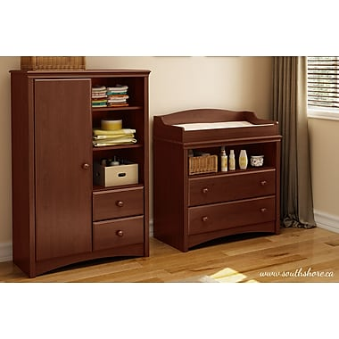 South Shore Sweet Morning Changing Table and Armoire, Cherry, 35.50