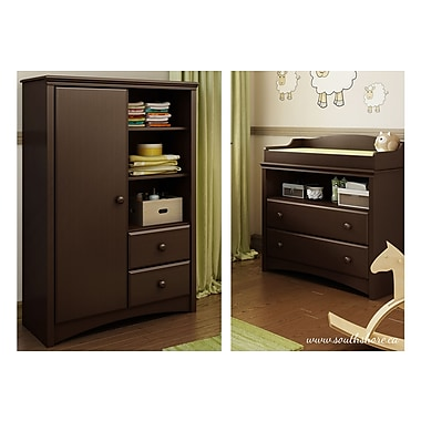 South Shore Angel Changing Table and Armoire, Espresso, 35.50