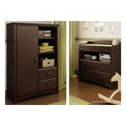"South Shore Angel Changing Table and Armoire, Espresso, 35.50"" (L) x 19.50"" (D) x 52.25"" (H)"