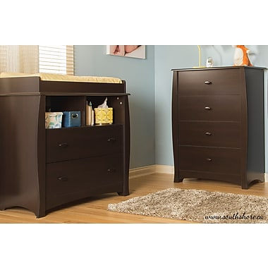 South Shore Beehive Changing Table and 4-Drawer Chest, Espresso, 35.50
