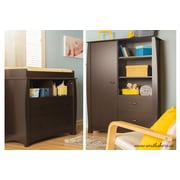"South Shore Beehive Changing Table and Armoire, Espresso, 39.50"" (L) x 19.50"" (D) x 54.25"" (H)"