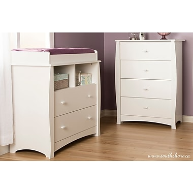 South Shore Beehive Changing Table with Removable Changing Station and Drawers, Pure White, 35,50