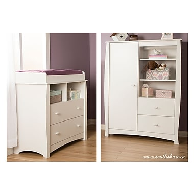 South Shore Beehive Changing Table with Removable Changing Station, Armoire and Drawers, White, 39.5