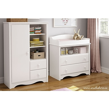 South Shore Heavenly Changing Table and Armoire, Pure White, 35.50