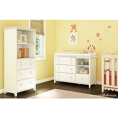 South Shore Little Smileys Changing Table and Shelving Unit, White, 47.25