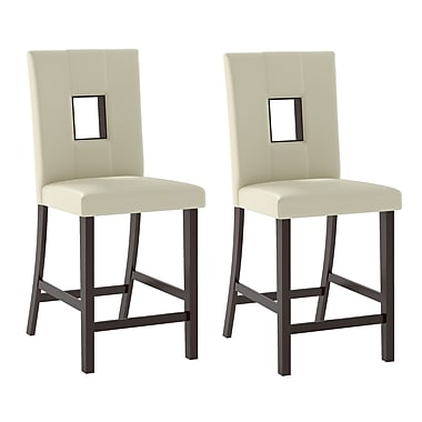 CorLiving DIP-410-C Bistro Dining Chairs in White Leatherette, Set of 2