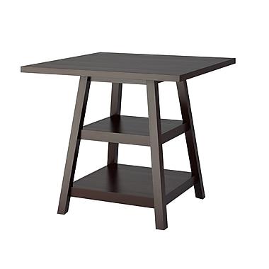 CorLiving - Table de salle à manger avec tablettes Bistro DIP-490-T de couleur cappuccino, à hauteur de comptoir de 36 po