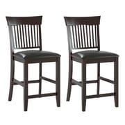 CorLiving - Chaises de salle à manger Bistro DKR-308-C en cuir reconstitué noir chocolat, ensemble de 2