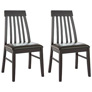 CorLiving - Chaises de salle à manger à dossier conique DKR-609-C en cuir reconstitué noir chocolat, ensemble de 2
