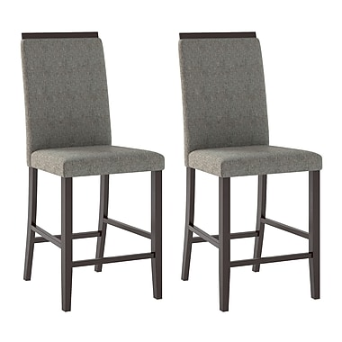 CorLiving DPP-190-C Bistro Dining Chairs in Pewter Grey Sand Fabric, Set of 2