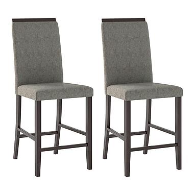 CorLiving - Chaises de salle à manger Bistro DPP-190-C en tissu sable gris d'étain, ensemble de 2
