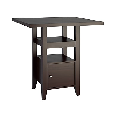 CorLiving - Table de salle à manger avec petit placard Bistro DPP-690-T de couleur cappuccino, à hauteur de comptoir de 36 po