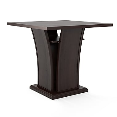CorLiving - Table de salle à manger à base courbe Bistro DWP-390-T de couleur cappuccino, à hauteur de comptoir de 36 po