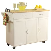TMS Kitchen Cart with Wood Top I; White