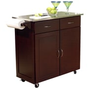 TMS Kitchen Cart with Stainless Steel Top I; Espresso