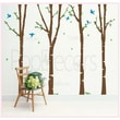 Pop Decors 4 Super Colorful Birch Trees Removable Vinyl Art Wall Decal