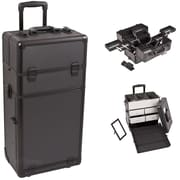 Sunrise Cases Professional Cosmetic Makeup Train Case; Black