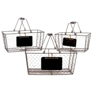 Urban Trends Metal Wire Basket Rectangular with Mesh Sides, Wood Handles and Black Name Plate