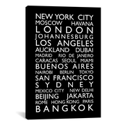 iCanvas 'World Cities Bus Roll' by Michael Tompsett Textual Art on Canvas; 60'' H x 40'' W x 1.5'' D