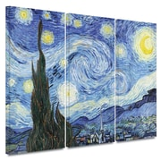 ArtWall ''Starry Night'' by Vincent van Gogh 3 Piece Painting Print on Canvas Set; 36'' H x 54'' W