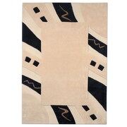 Dynamic Rugs Mystique Ivory/Black Abstract Border Area Rug; 5'3'' x 7'7''