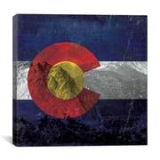 iCanvas Colorado Flag, Pikes Peak w/Omo Film Grunge Graphic Art on Canvas; 12'' H x 12'' W x 1.5'' D