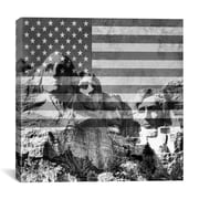 iCanvas Mount Rushmore, US Flag Graphic Art on Canvas in Black / White; 37'' H x 37'' W x 0.75'' D