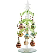 LS Arts, Inc. Glass Christmas Tree with 9 Wine Markers Ornaments