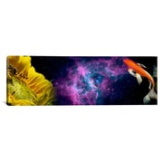 iCanvas Panoramic Sunflower and Koi Carp in space Graphic Art on Canvas; 20'' H x 60'' W x 1.5'' D