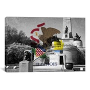 iCanvas Illinois Flag, Lincoln Tomb, Springfield Graphic Art on Canvas; 12'' H x 18'' W x 0.75'' D