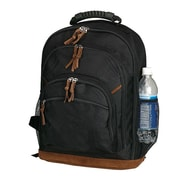 World Traveler Street Style Leather Bottom Backpack; Black