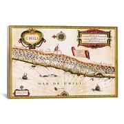 iCanvas Antique Maps of Chile (Jansson, Jan 1635) Graphic Art on Canvas; 8'' H x 12'' W x 0.75'' D