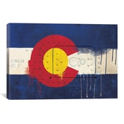 iCanvas Colorado Flag, Metal Rivet w/ Paint Drips Graphic Art on Canvas; 12'' H x 18'' W x 0.75'' D