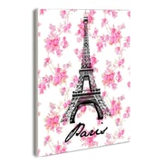 Stupell Industries Lulusimon Studio Paris Eiffel Tower with Floral Wall Plaque