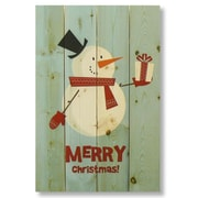 Gizaun Art 4 Piece Wile E. Wood Merry Christmas Snowman Graphic Art Set