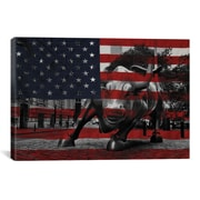 iCanvas Flags New York Wall Street Charging Bull Graphic Art on Canvas; 12'' H x 18'' W x 0.75'' D