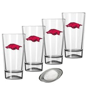 Kraftware Collegiate 16 Oz. Pint Sports Glasses (Set of 4); Arkansas
