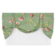 Ellis Curtain Coventry Medium Scale Floral Tie-Up Curtain Valance; Green
