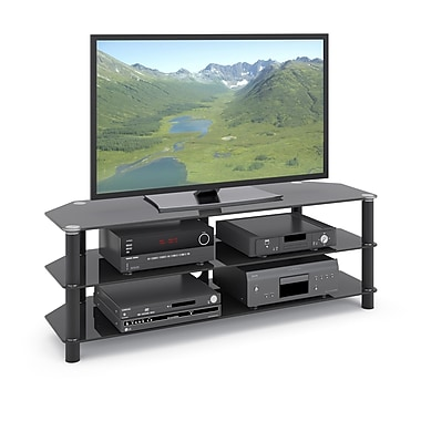 CorLiving TRA-704-T Trinidad Black Glass TV/Component Stand for TVs up to 60
