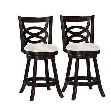 CorLiving - Tabouret de bar en bois cappuccino Woodgrove DWG-814-B de 38 po avec siège en similicuir, ensemble de 2