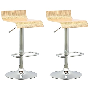 CorLiving DWN-490-B Curved Seat Adjustable Barstool in Light Bentwood, Set of 2