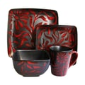 American Atelier Daisy 16 Piece Dinnerware Set; Red