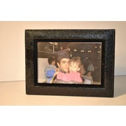 Budd Leather Lizard Print Picture Frame; Black