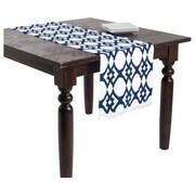 Saro Madelyn Ikat Design Ribbed Table Runner; Navy Blue