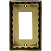 Liberty Hardware Beaded Single Decorator Wall Plate; Tumbled Antique Brass