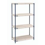 Nexel Nexelite Plastic Mat 4 Shelf Shelving Unit Starter; 63'' H x 30'' W x 18'' D