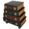 EC World Imports Classic 4 Drawer Antiqued Faux Leather Book Series Chest