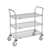 Nexel 3 Shelf Utility Cart with Braking Casters; 39'' H x 48'' W x 21'' D