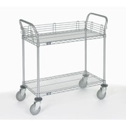 Nexel 2 Shelf Utility Cart with Polyurethane Casters; 39'' H x 48'' W x 21'' D