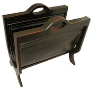 EC World Imports Handcrafted Decorative Wood and Leather Magazine Rack